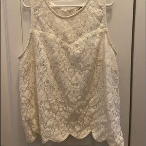Lace tank top with heart neckline